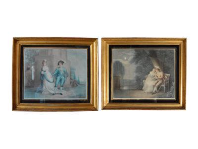 Pair-of-coloured-stipple-engravings