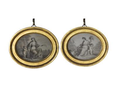 Pair-of-George-II-oval stipple-engravings