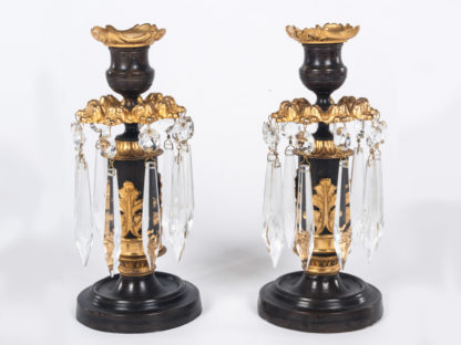 Pair-of-bronze-and-gilt-Lustre-Candlesticks