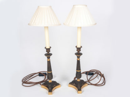 Pair-of-George-III-bronze-and-gilt-Candlesticks