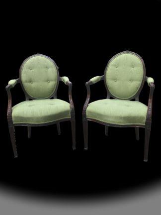 George III Hepplewhite Period Armchairs