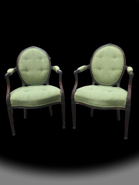 George III Hepplewhite Period Armchairs