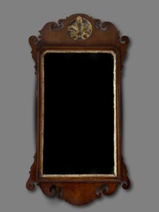 George111 mahogany and gilt fret mirror of good size and original plate.