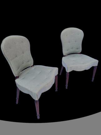 Pair of George III Mahogany Serpentine upholstered Chairs