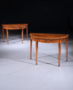 A Pair of George III Demi Lune Mahogany Card Tables
