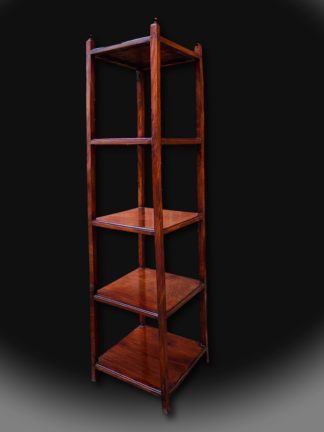 A mid 19th century mahogany whatnot of small and elegantly simple design. English. C1850