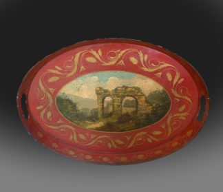 George III Pontypool tray with an oval painting