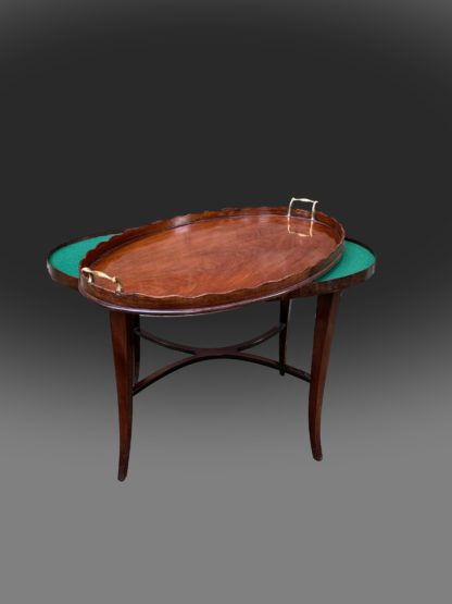 George III oval mahogany tray with a scalloped gallery