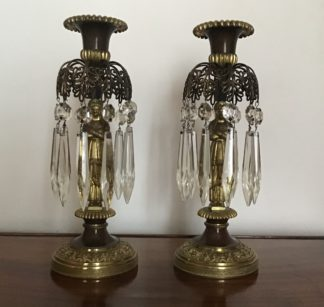 Fine pair of Regency bronze and gilt lustre candlesticks