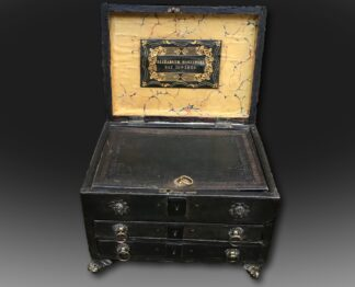 Rare Regency Period Casket in dark green leather