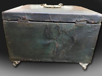 Rare Regency Period Casket in dark green leather back